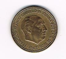 &-  SPANJE  1 PESETA  1963 ( 65 ) - [ 5] 1949-… : Royaume