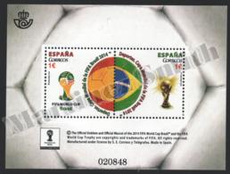 Spain - Espagne 2014 Yvert 4596-97, Sport, Brazil 2014 FIFA World Cup - Football - Miniature Sheet - MNH - 1931-Hoy: 2ª República - ... Juan Carlos I