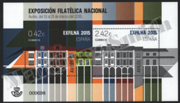 Spain - Espagne 2015 Yvert 4669-70, Exfilna 2015, Avilés, National Philatelic Exhibition - Miniature Sheet - MNH - 1931-Hoy: 2ª República - ... Juan Carlos I