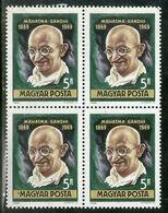 Hungary 1969 Mahatma Gandhi Of India Birth Centenary BLK/4 MNH # 12671B - Mahatma Gandhi