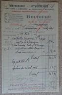 Facture Ancienne - Imprimerie Lithographie - Comptoir Photographique De L'aude - Roudière - Carcassonne - 1917 - France