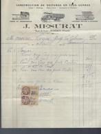 Ancienne Facture Construction De Voitures En Tous Genre  J Mesurat Pomerol 1928 Forge Et Charronnage Camion Voiture - Voitures