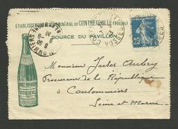 """VOSGES / Petite Carte Lettre Illustrée """" Ets Hydrominéral De CONTREXEVILLE """" / 1923 >>> COULOMMIERS - Marcophilie (Lettres)"""