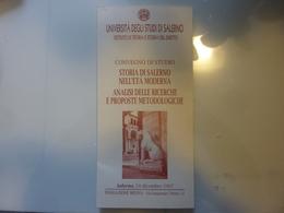 """Pieghevole  Illustrato """"CONVEGNO DI STUDI STORIA DI SALERNO IN ETA' MODERNA Salerno 12 Dicembre 1997"""" - Programmi"""