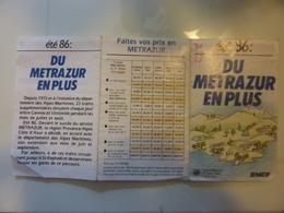 "Pieghevole  Illustrato ""ETE' 86  DU METRAZUR EN PLUS SNCF"" - Europe"