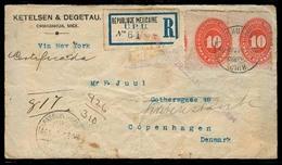 MEXICO. 1894 (23 Aug). Chihuahua - Denmark. Reg Medalion 10c Pair / Cds. Via Texas + NY. Scarce Danish Establ. Cº + Dest - Mexique