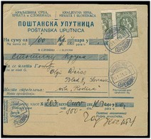 SERBIA. 1921 (15 Jan). Yv 163 (1 + 1/2). Obrenovac To Bled-Slovenia. Reg Postal Money Order Fkd 30p Olive Green Pair One - Serbia