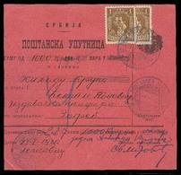 SERBIA. 1920 (23 Jan). Yv 165 (1 + 1/2). Leskovac To Zagreb - Croatia. Reg Postal Money Order Receipt Fkd Single + Bisec - Serbia