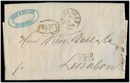 NORWAY. 1874 (3 Feb). Stavanger - Portugal (20 Feb). Stampless EL Cash Paid / Mns. Franco / Depart Cds + Oval Franca (Po - Non Classés