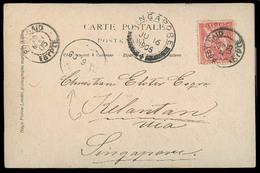 SIAM. 1905.EGYPT - SINGAPORE - MALAYSIA - SIAM Adm. Period. Fkd Card THAI P.O. Port Said (Egypt To Kelatan With Thai PO - Siam