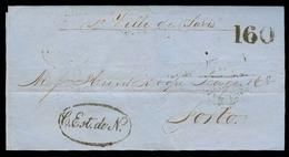 """GIBRALTAR. 1860 (19 Jan). Gibraltar - Portugal. EL Carried By Ville De Paris + Oval """"Correio Estrangeiro De Navio"""" (Xxx) - Gibraltar"""