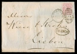 GREAT BRITAIN. 1877 (15 Jan). London - Portugal. EL Fkd 2 1/2d Pl 6 + Oval Franca. F-VF. - Great Britain