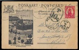 SOUTH AFRICA. 1948 (16 Feb). Durban - USA. 1d Ilustr Stat Card, Taxed / 10c + NY Aux Mark. Fine. - Afrique Du Sud (1961-...)
