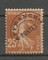 PREO Yv. N° 57   *   25c  Type R  Type Semeuse Fond Plein   Cote  2,5 Euro BE  2 Scans - Préoblitérés