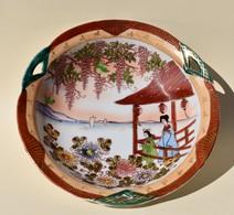 Plat Creux En Porcelaine Japonaise Décor Bord De Mer - Art Asiatique