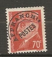 PREO Yv. N° 84  (o)  70c  Type R  Type Pétain   Cote 1,5 Euro BE   2 Scans - Préoblitérés