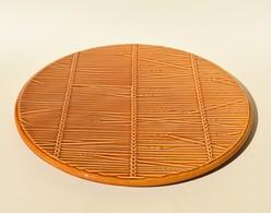 Plat Vintage à Fromage En Faïence Val-d'Or Décor De Paille - Ceramics & Pottery