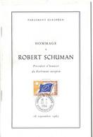 HOMMAGE À ROBERT SCHUMAN - LIVRET Du PARLEMENT EUROPÉEN Avec TIMBRE CONSEIL DE L'EUROPE CAD STRASBOURG 1964 - Institutions Européennes