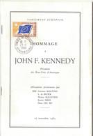 HOMMAGE À JOHN F. KENNEDY - LIVRET Du PARLEMENT EUROPÉEN Avec TIMBRE CONSEIL DE L'EUROPE CAD STRASBOURG 1964 - Institutions Européennes