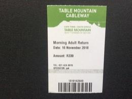 TICKET TRANSPORT  TABLE MOUNTAIN AERIAL CABLEWAY  Afrique Du Sud  South Africa - Chemins De Fer