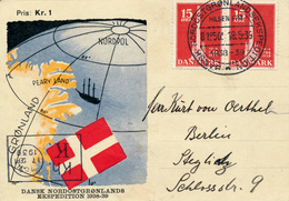DANSK NORDOSTGRONLANDS EXPEDITION  - 1939  , Karte Nach Berlin - Brieven En Documenten