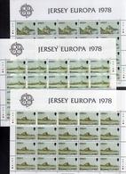JERSEY 1978 EUROPA CEPT BLOCK SHEETS COMPLETE SET SHEET MINI FOGLI BLOCCO SERIE COMPLETA FOGLIETTO MNH - Jersey