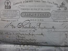 FACTURE FONDERIE FER ET CUIVRE FABRIQUE DE POMPES JAUME JEUNE A BEZIERS 1875 - France