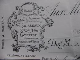 FACTURE FOURRURES LAYETTES AUX MONTAGNES RUSSES 9 FAUBOURG St HONORE 1906 - 1800 – 1899