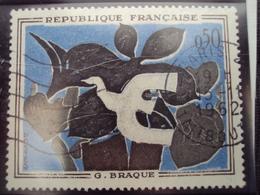 """60-69- Timbre Oblitéré N°  1319a """"liseré Blanc""""       """" Le Messager De Braque   """"  3 Euros - Oblitérés"""