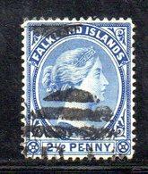 XP4633 - FALKLAND 1882 , 1 Penny Yvert N. 5 Usato  (2380A) .  Fil CA - Falkland