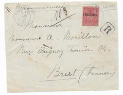 LEVANT (TURQUIE) - 1897 - SAGE YVERT N° 5 SEUL Sur DEVANT DE LETTRE RECOMMANDEE De SALONIQUE (GRECE) => BREST - Lettres & Documents