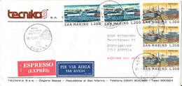 San Marino Express Air Mail Cover Sent To Austria Dogana 19-8-1981 Good Franked Cover - San Marino