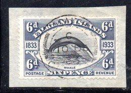 XP4637 - FALKLAND 1933 , 6 Pence  Nero Violaceo Yvert N. 65 Usato  (2380A) .  SPLENDIDO - Falkland