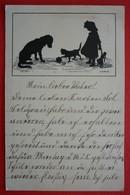 SILHOUETTE POSTCARD , DOG , CAT AND GIRL - Siluette