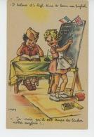 """ENFANTS - GUERRE 1914-18 - Jolie Carte Fantaisie Enfants """"Je Crois Qu'il Est Temps De Bûcher Notre Anglais!..."""" - Dessins D'enfants"""