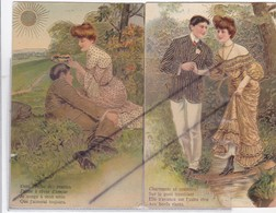 Lot 2 Cartes Gaufrées ;Couple ,Charmante Et Craintive ....,Dans L'herbe Des Prairies..... - Couples