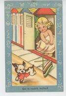 """ENFANTS - DOG - Jolie Carte Fantaisie Fillette Dans Cabine De Bain Et Chien """"Qui Te Nourrit, Traître ? """" - Dessins D'enfants"""