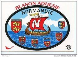 Normandie Orne Eure Calvados Seine Maritime Manche Cp Blason Adhésif Autocollant Drakkar Viking - Haute-Normandie