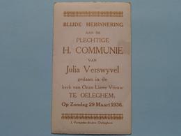 H. Communie Van Julia VERSWYVEL > Kerk Van O.L.V. Te OELEGHEM Op 29 Maart 1936 ( J. Verpoten ) ! - Communion