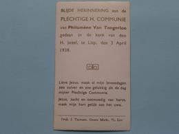 H. Communie Van Philomène Van TONGERLOO > Kerk Van Den H. Jozef Te LISP Op 3 April 1938 ( J. Taymans ) ! - Communion