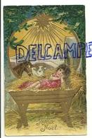 Joyeux Noël. Crèche, Etoile. Glacée. 1910. Enfant-Jésus (fille De +/- 5 Ans). Cheval à La Place De L'âne. - Navidad