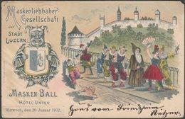 Masken-Ball, Hôtel Union, Luzern, 1902 - Rüttger & Co AK - LU Luzern