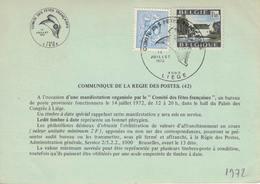 Belgique. Timbre à Date  14-07-1972. Liège. Thème: Bonnet Phrygien - Documents De La Poste