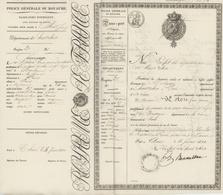 Passeport Entier D'indigent Généalogie Woton Natif De Boulogne Demeurant à Paris Et Allant à Paris - Revenue Stamps