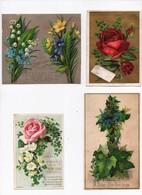 CHROMO Fleurs Roses Violettes Bleuets Muguet Alf Cooke Astley H. Baldwin New Year (4 Chromos) - Trade Cards