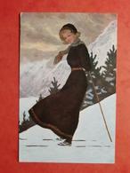 CPA ALLEMAGNE 1917 FEMME AU SKI - Allemagne
