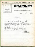 """NOGENT-EN-BASSIGNY  (52) : """" COUTELLERIE  GRAPINET """"  1942 - Droguerie & Parfumerie"""