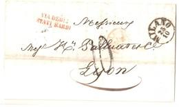 MILANO Italie Lettre 23 10 1856 Entrée Autriche 2 Pt DE BEAUVOISIN 2 Noel 463 Taxe 10 Lyon Marque VIA DEGLI STATI SARDI - Marcophilie (Lettres)