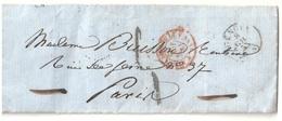 GENOVA Italie Lettre 12 6 1855 Entrée SARDaigne 4 Pt DE BEAUVOISIN 4 Noel 1092 Taxe 5 Paris - Marques D'entrées