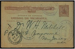 NICARAGUA. 1899. Bluefields - USA / N Jersey. 3c Brown Stat Card + Cachets + Transits. Fine. - Nicaragua